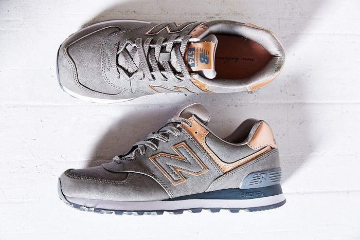 New Balance 574 Precious Metals En Gris Clair Et Rose Gold